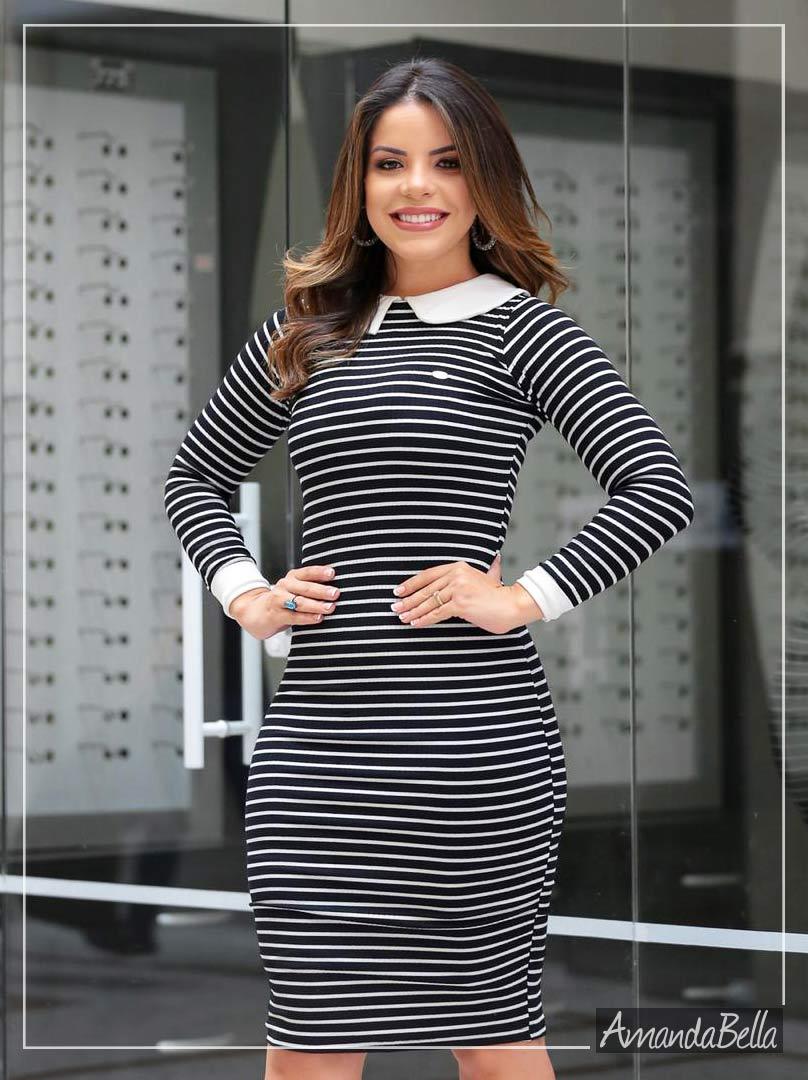 Vestido Polinho Executivo Malha Canelada - Boutique K