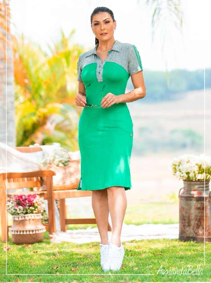 Vestido Polinho Verde - Boutique K