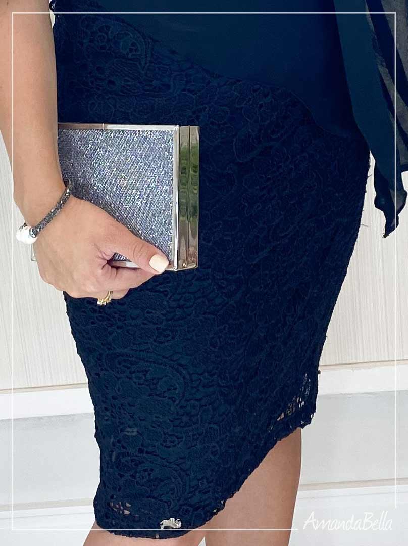 Vestido  Preto Luxo em Renda - Mônia