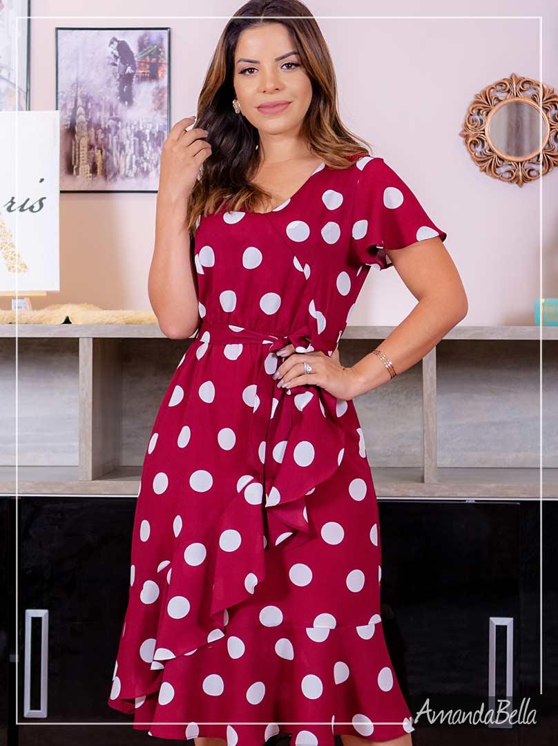 Vestido Princesa Mix de Poá - Amanda Bella