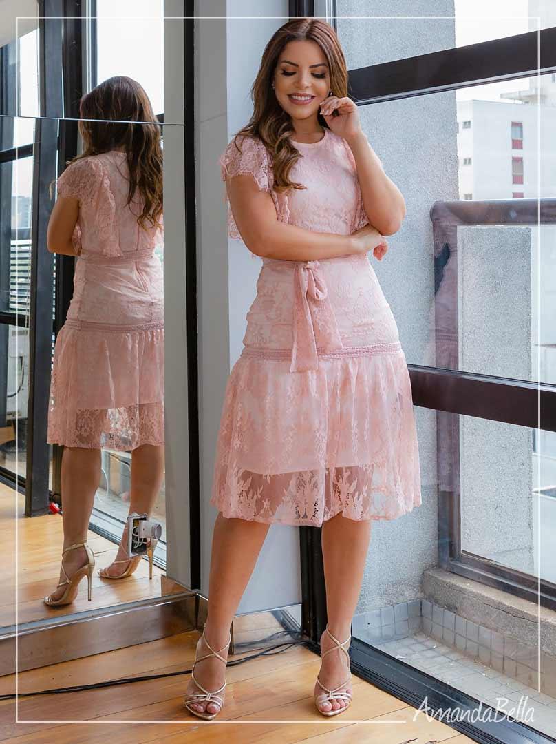 Vestido Renda Premier Rosa - Az Irmãs