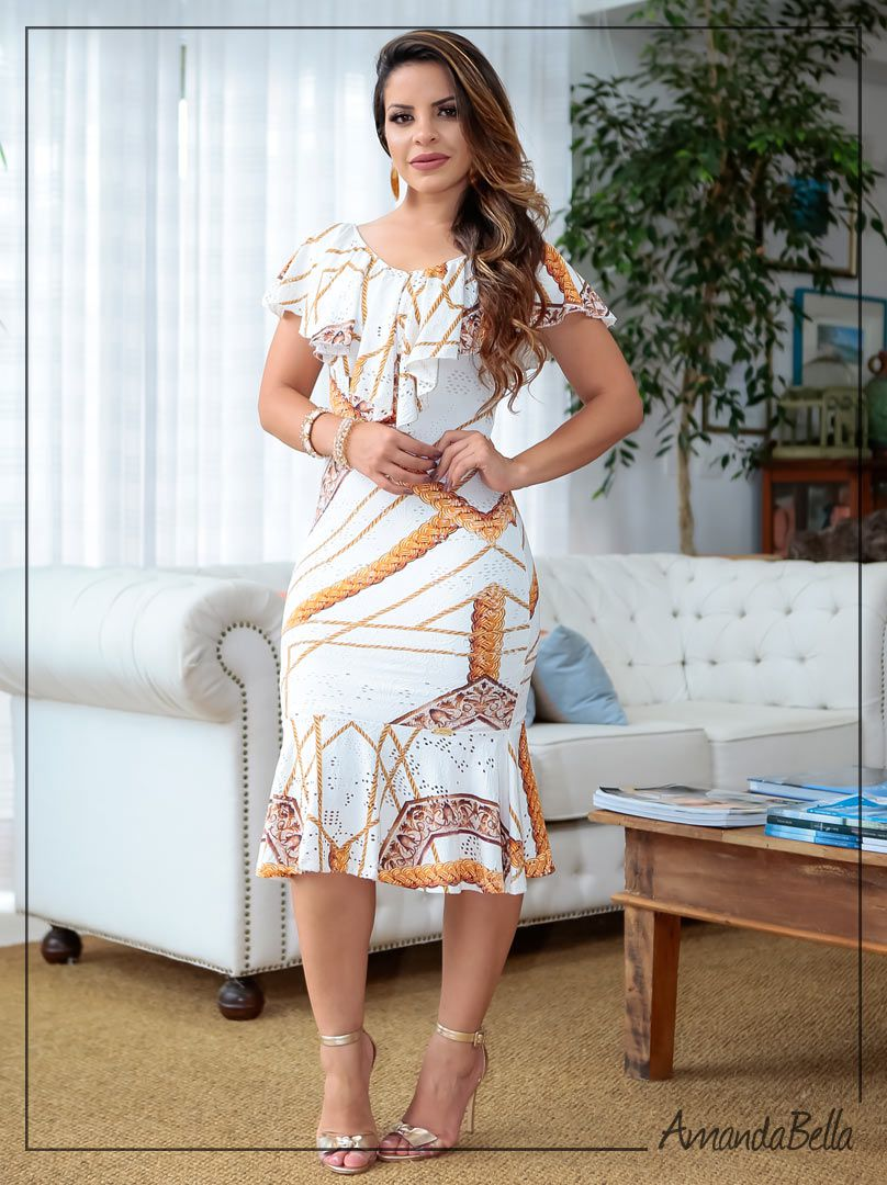 6f4baa46e Vestido Reveion Boutique K Estampado com Babado   AmandaBella
