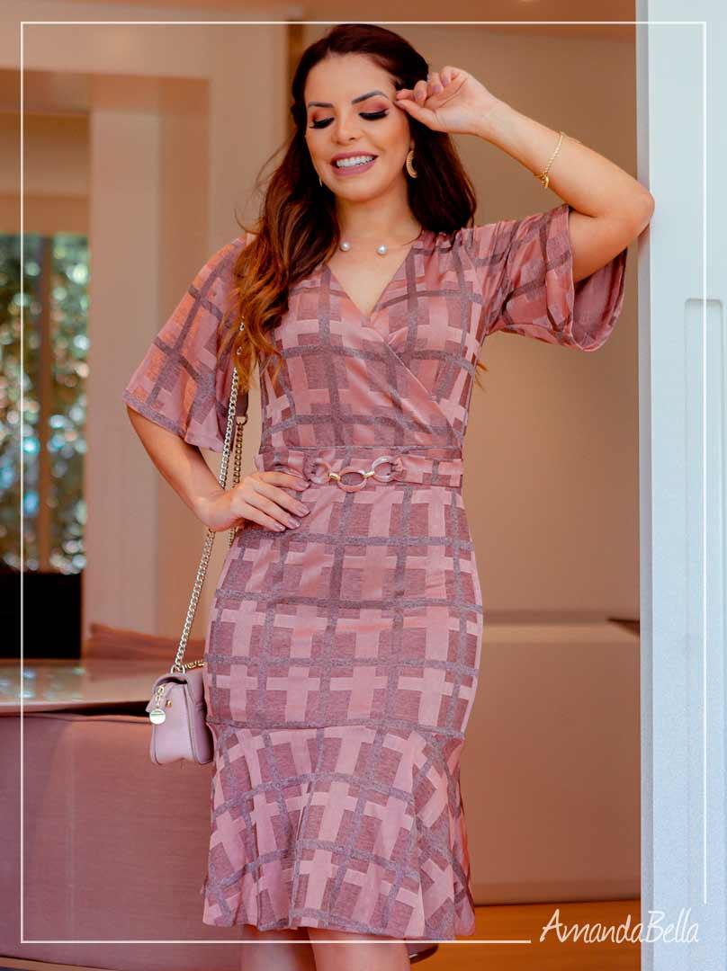 Vestido Rosê Glamour - Moda Executiva
