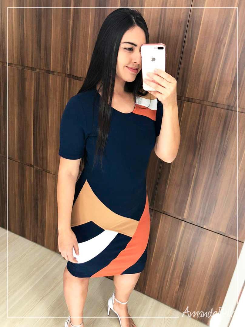 Vestido Social Azul Marinho com Recortes - AmandaBella
