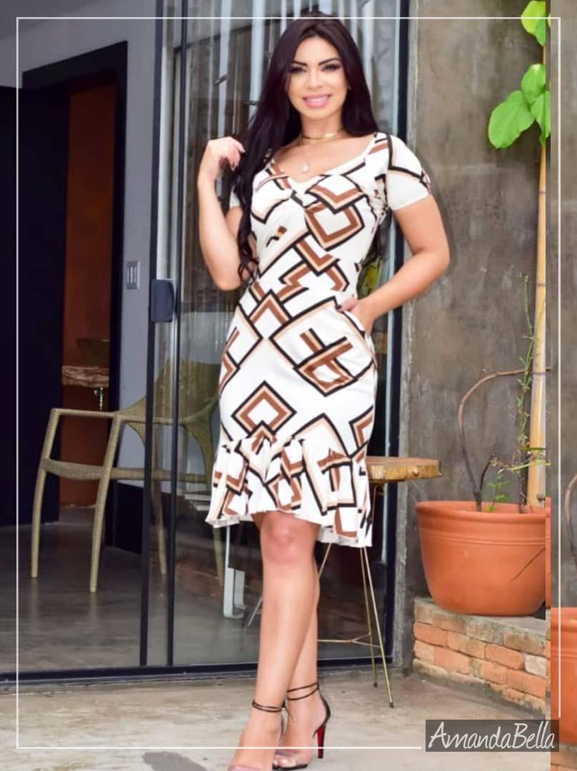 Vestido Soltinho Estampado Alto Verão 2020 - Amanda Bella