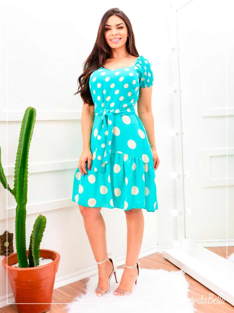 Vestido  Soltinho Verde Água   Poá - Fm Fashion
