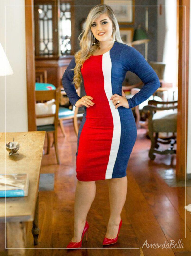 Vestido Tricolor Manga Longa Feminino em Jacquard  a039ac52543