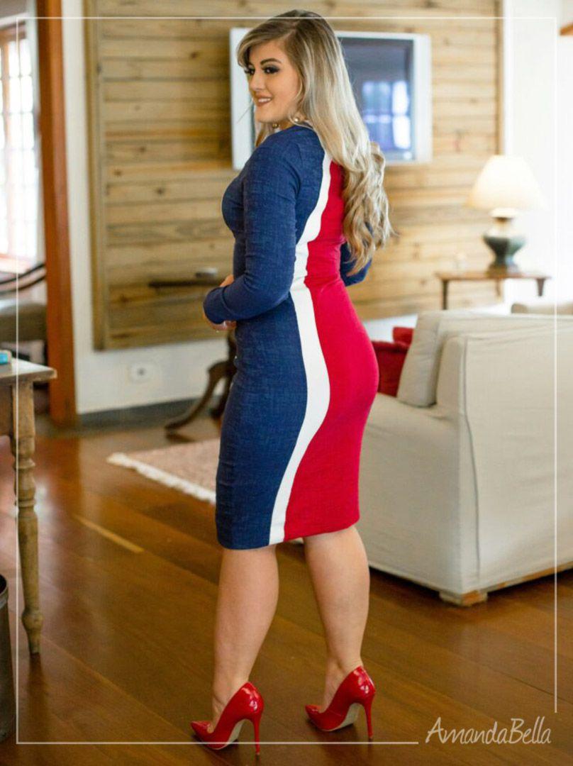 ... Vestido Tricolor Manga Longa Feminino em Jacquard ... 42fe25ac8c1