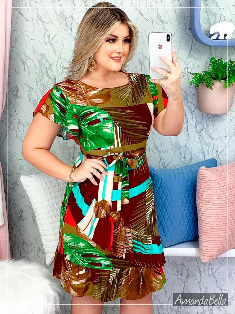 Vestido Tropical Soltinho em Viscose - Amanda Bella