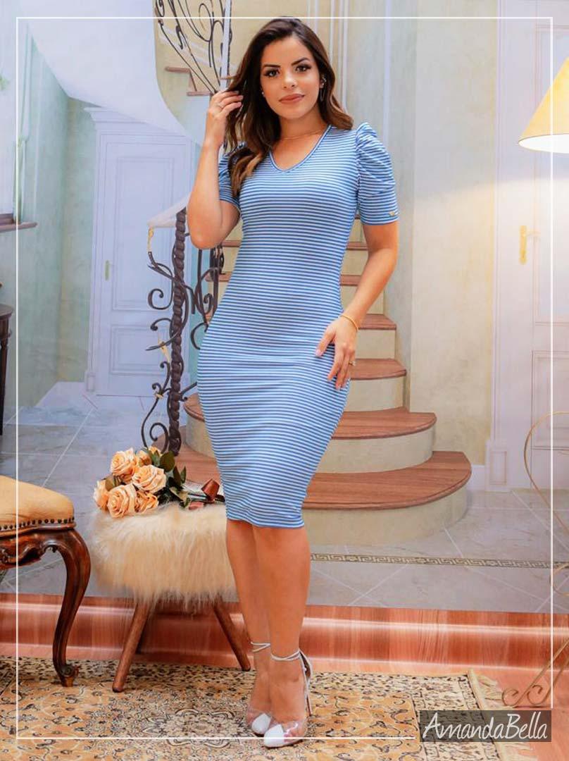 Vestido Tubinho Azul Listras - Boutique K