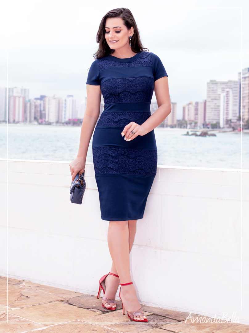 Vestido Tubinho  Azul Marinho  - Moda Executiva