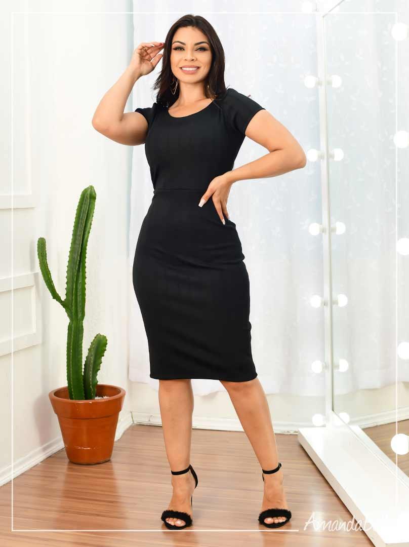 Vestido Tubinho Bandagem Zíper nas Costas - Amanda Bella