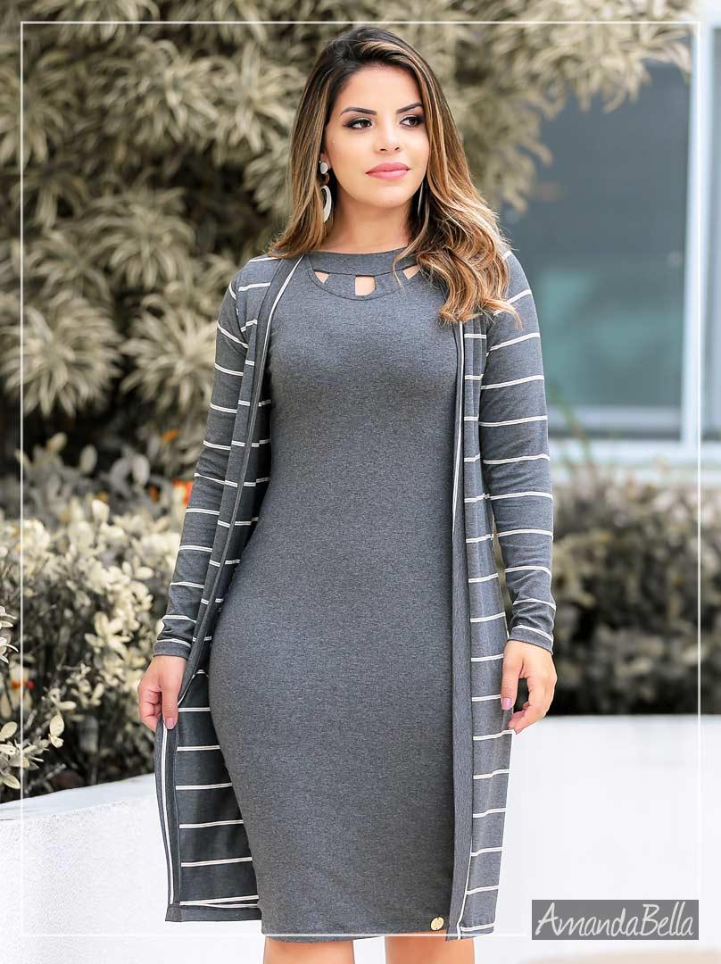 Vestido Tubinho Cinza com Recortes a Laser - Boutique K
