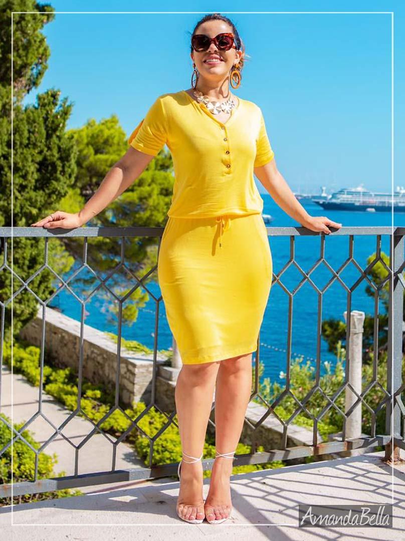 Vestido Tubinho com Elástico na Cintura Verão 2020 - Boutique K