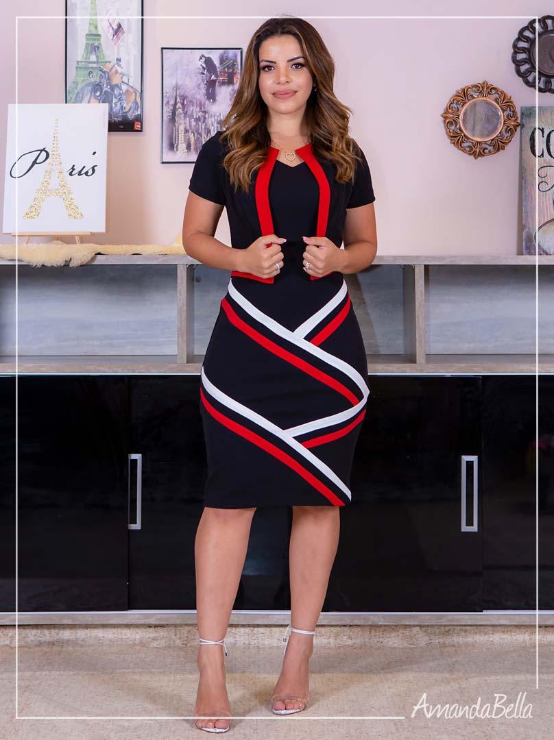 Vestido Tubinho com Recortes  Diagonais Splendid