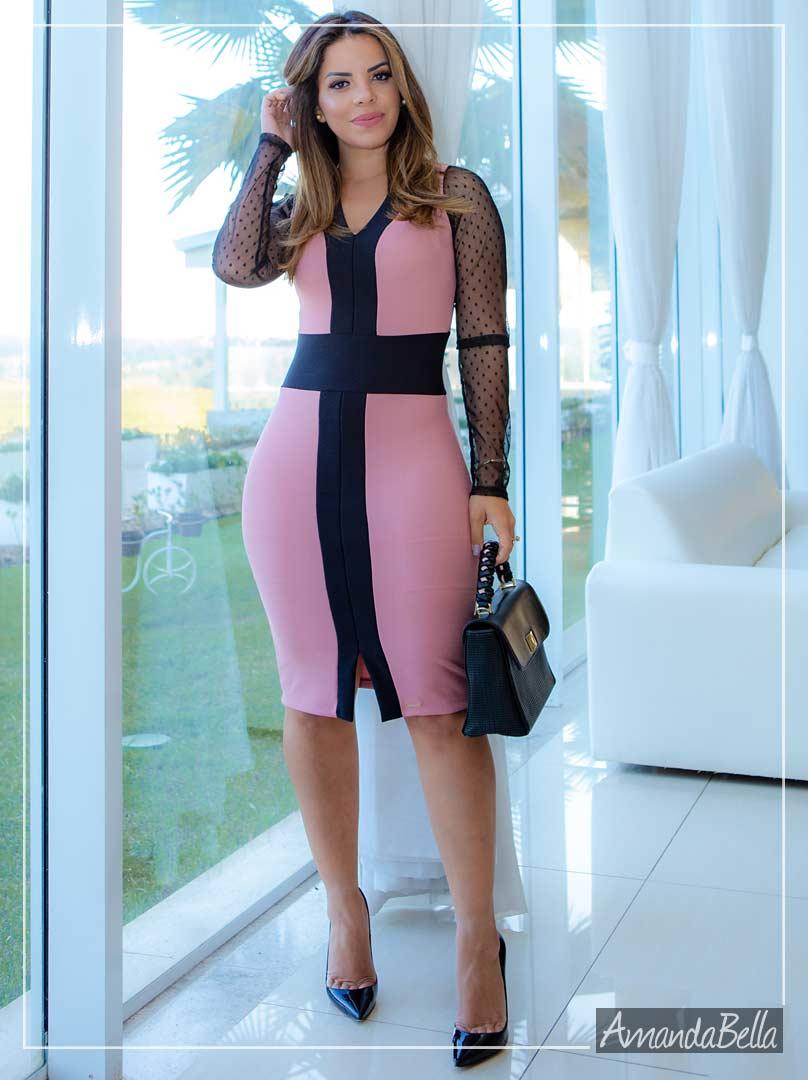 Vestido Tubinho Coral Slin Fashionable com Guipir