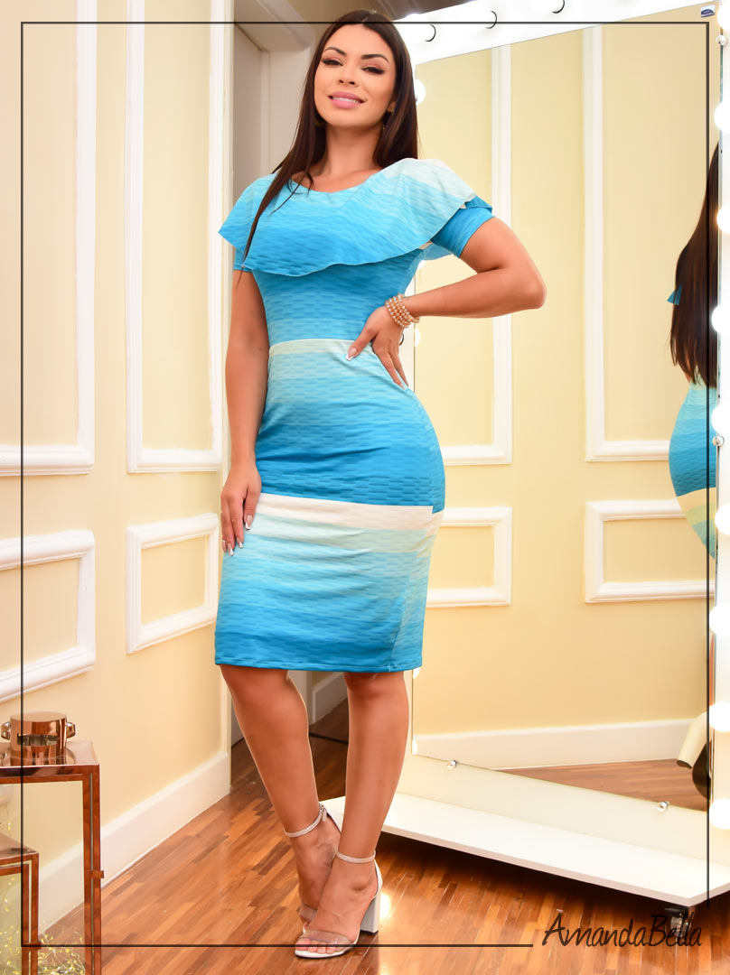 Vestido Tubinho Degradê Azul Turquesa