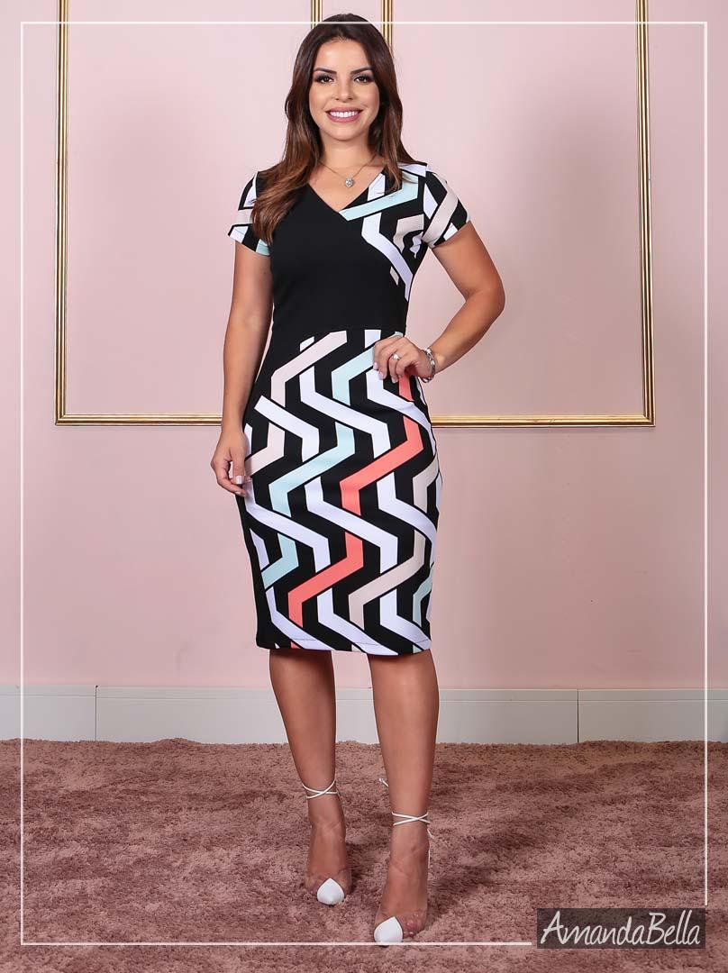 Vestido Tubinho  em Estampa 3D Prime - AmandaBella