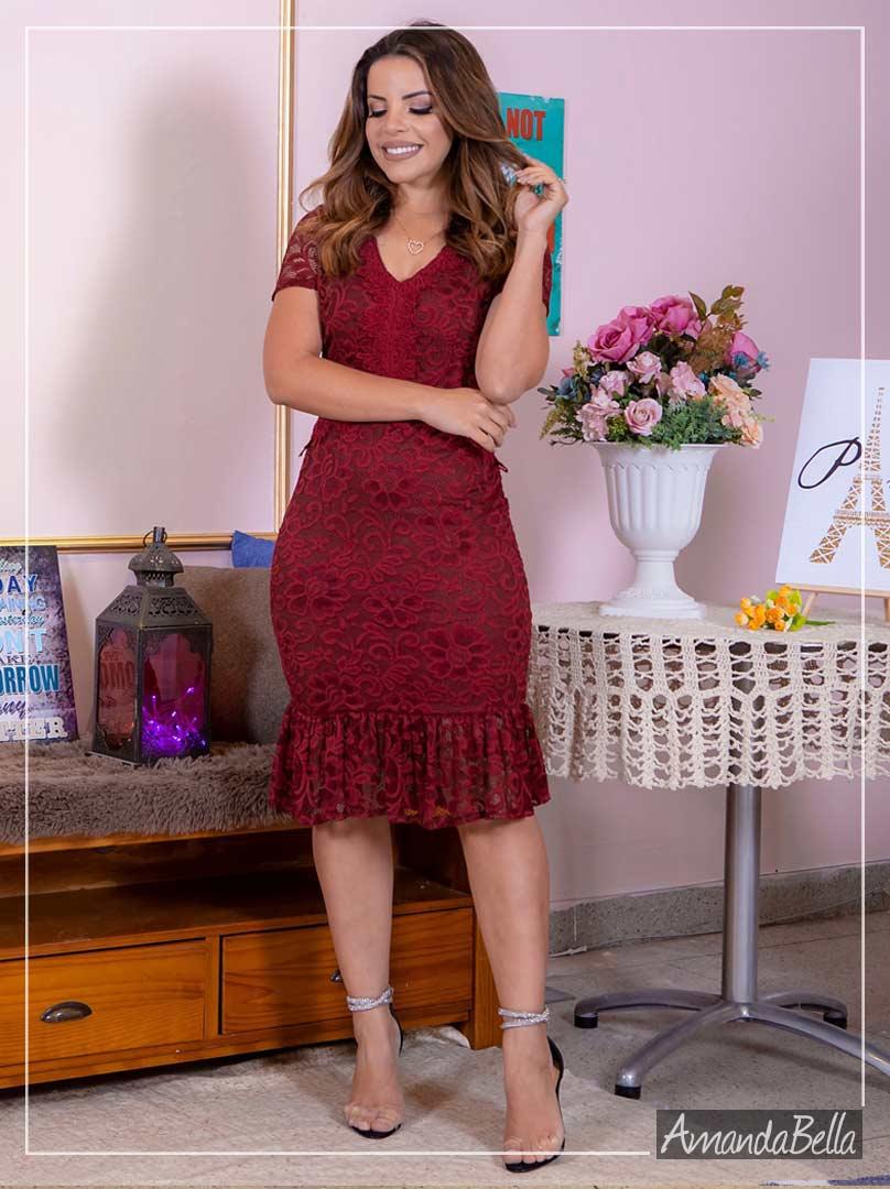 Vestido Tubinho em Renda de Poliamida- Moda Feminina