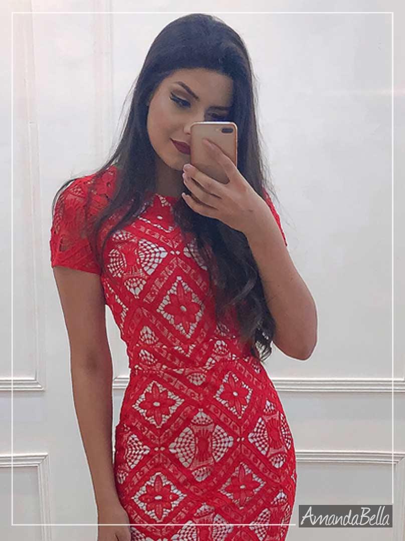 Vestido Tubinho  em Renda Guipir  - AzIrmãs