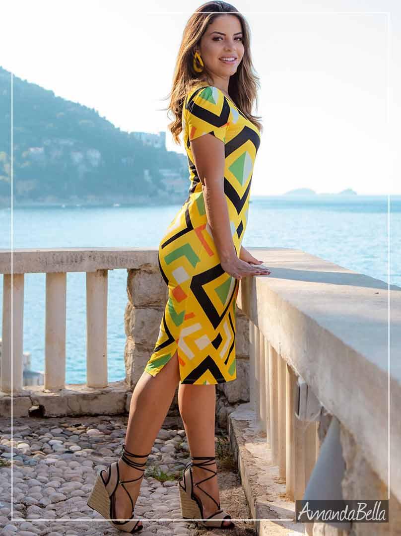 Vestido Tubinho Estampa Geométrica- Boutique K