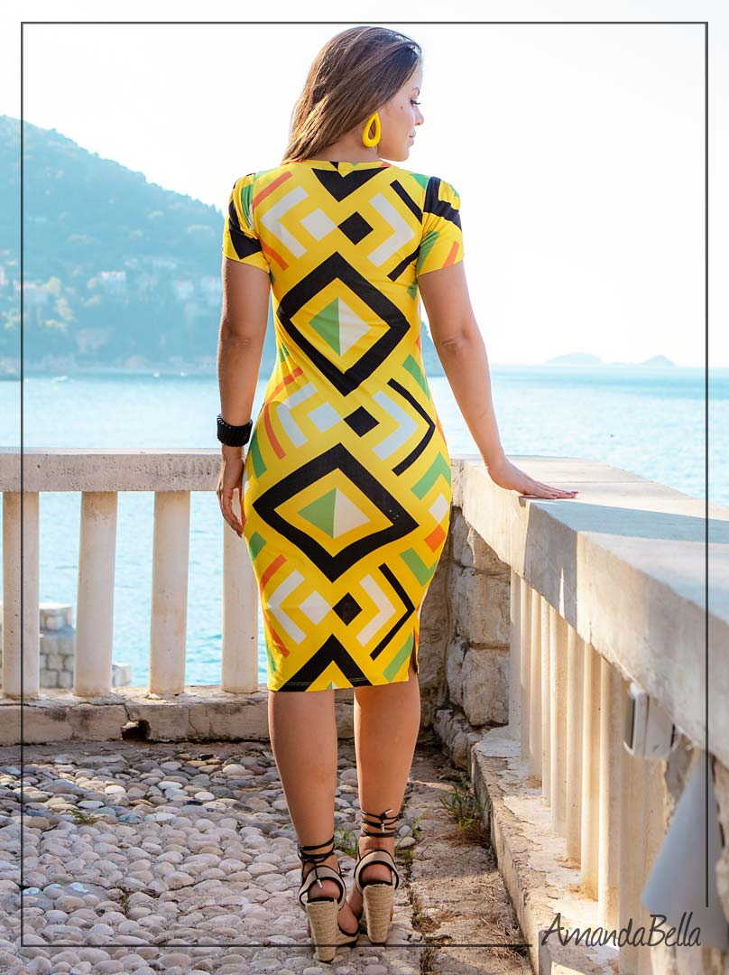 Vestido Tubinho Estampa Geométrica - Boutique K