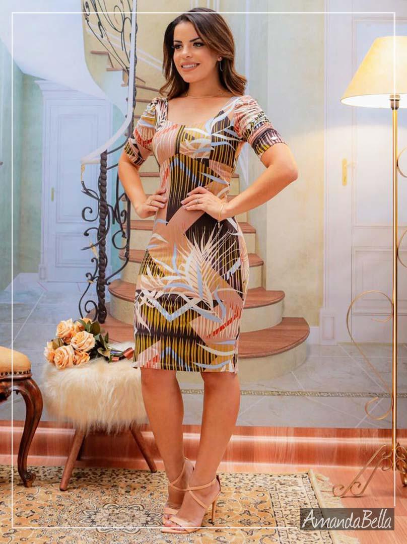 Vestido Tubinho Estampado Decote Quadrado - Boutique K