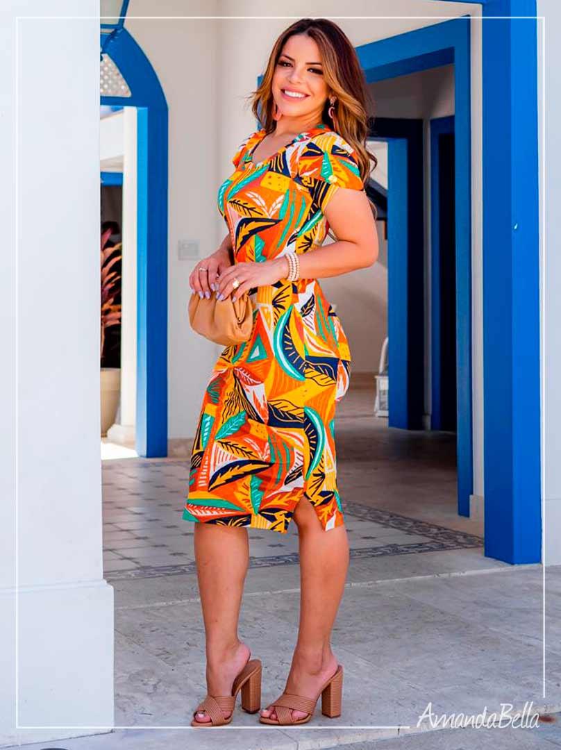 Vestido Tubinho Estampado Summer 2021 - Boutique K