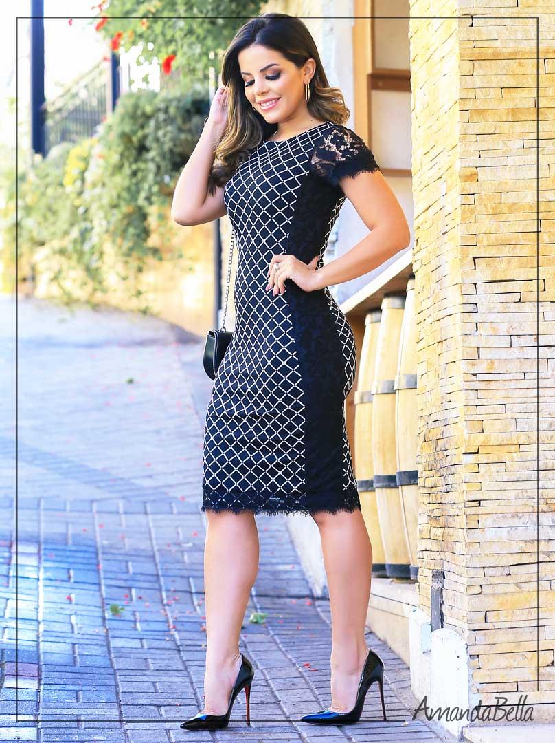 3abb3b6d9433 Vestido Executivo com Detalhe em Renda Moda Evangélica - Mônia