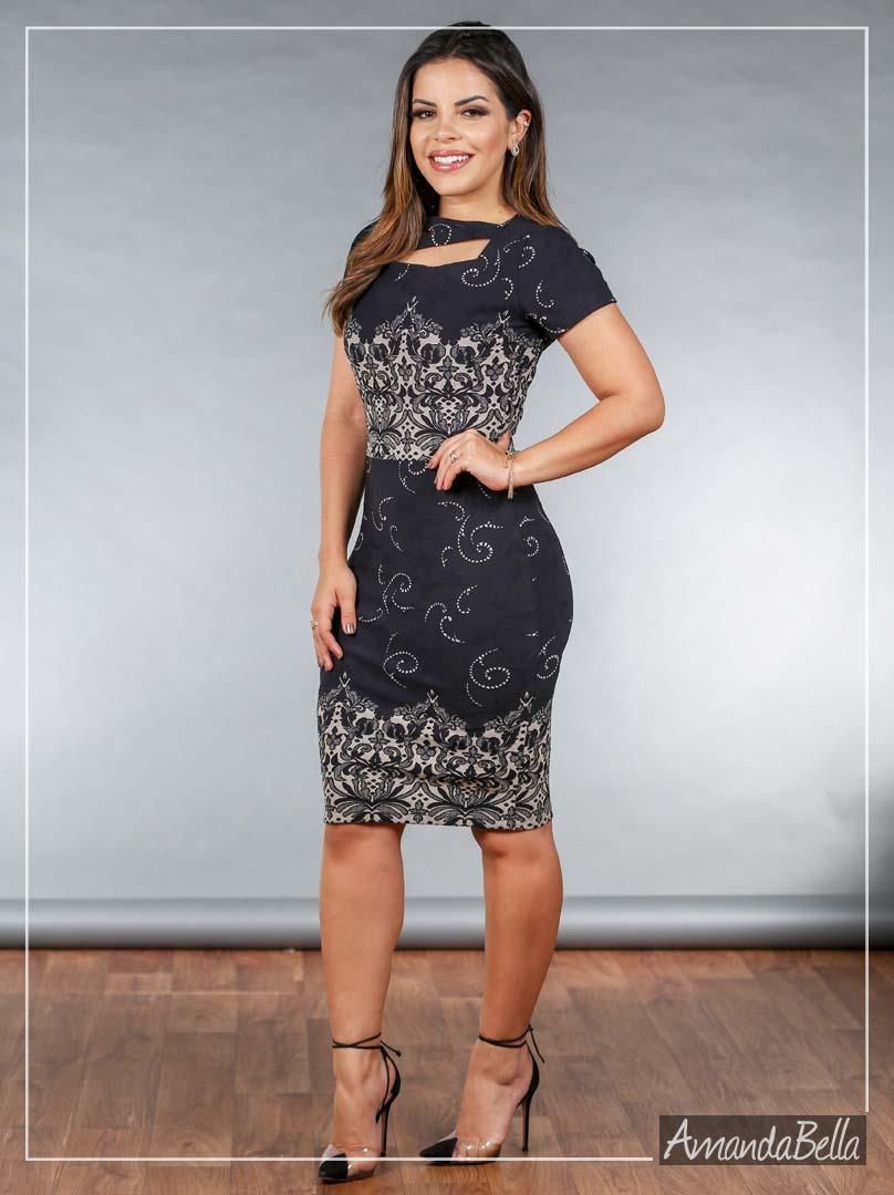Vestido Tubinho Executivo Jacquard de Poliamida Premium - Joyaly
