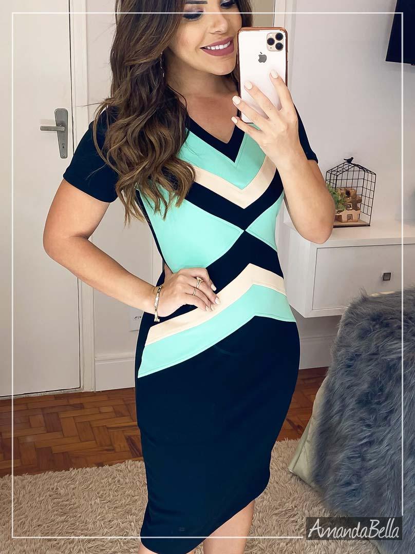 Vestido Tubinho Executivo Preto com Recortes - Amanda Bella
