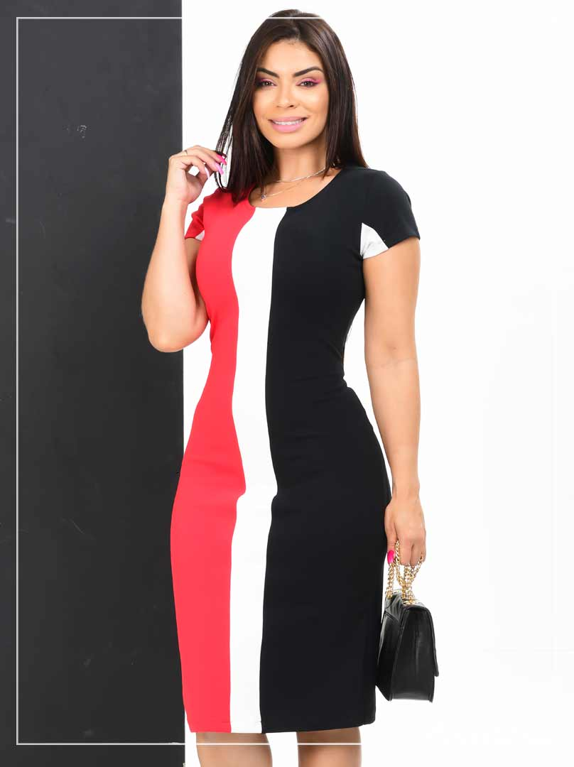Vestido Tubinho Executivo Sensation Tricolor