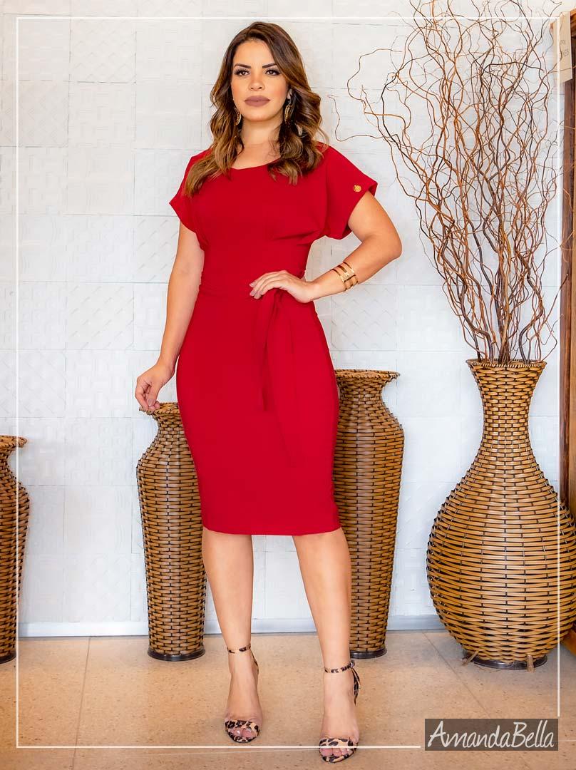 Vestido Tubinho Executivo Vermelho com Laço Frontal- Boutique K