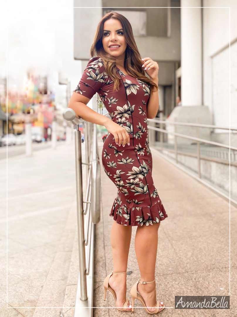 Vestido Tubinho Glacê Floral - Boutique K