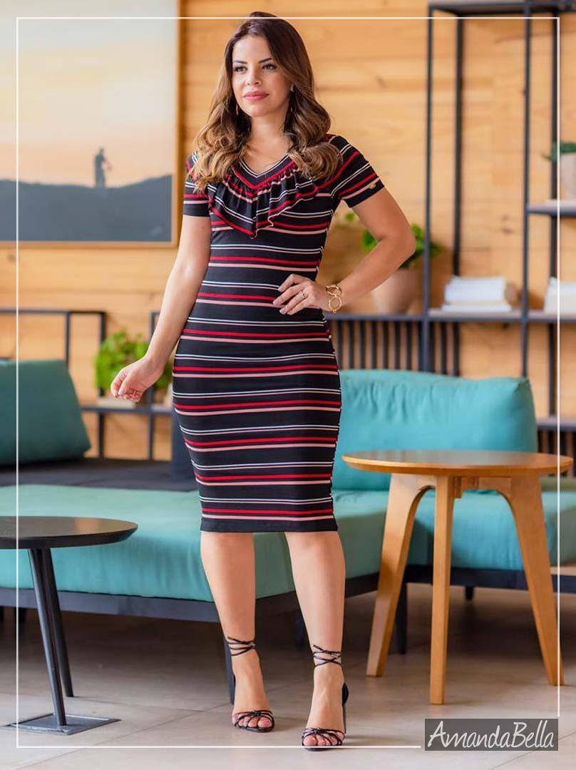 Vestido Tubinho Listrado Casual - Boutique K