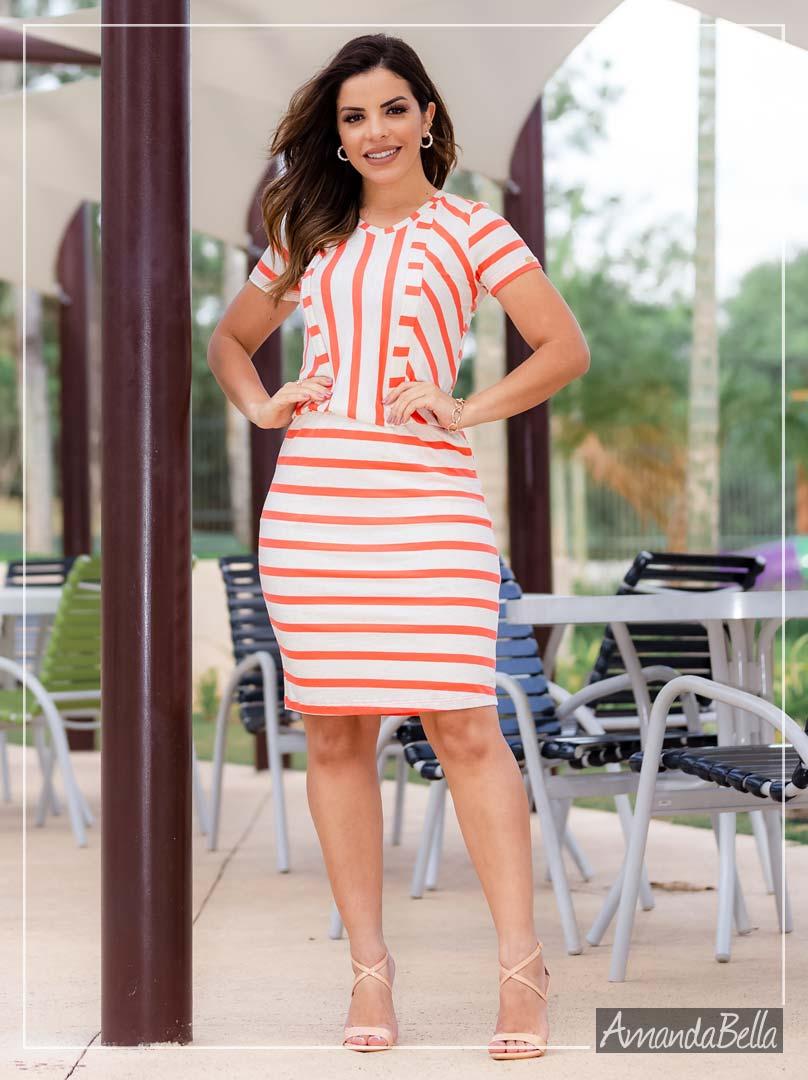 Vestido  Tubinho Listrado Soltinho - Boutique K
