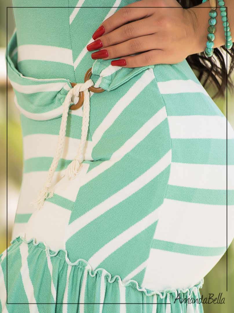 Vestido Tubinho Listras e Babado- Fm Fashion