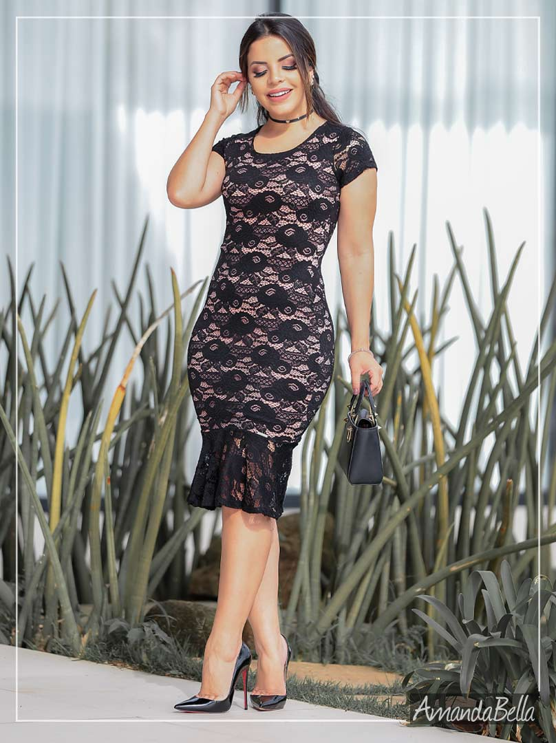 Vestido Tubinho Luxo em Renda Soutache - AmandaBella