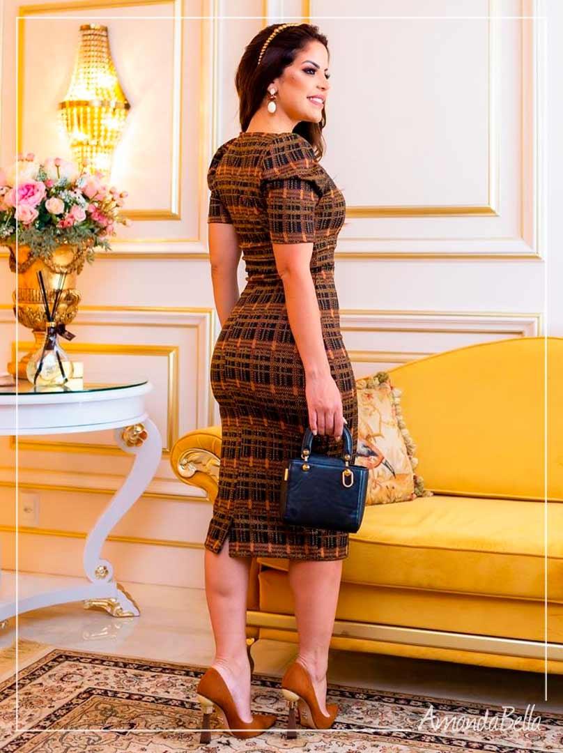 Vestido Tubinho Luxuous  Coof  Jacquard   - Boutique K