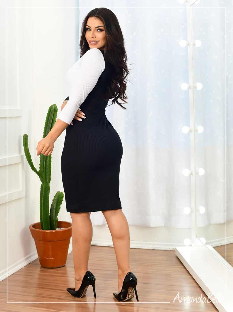 Vestido Tubinho P&B- Amanda Bella