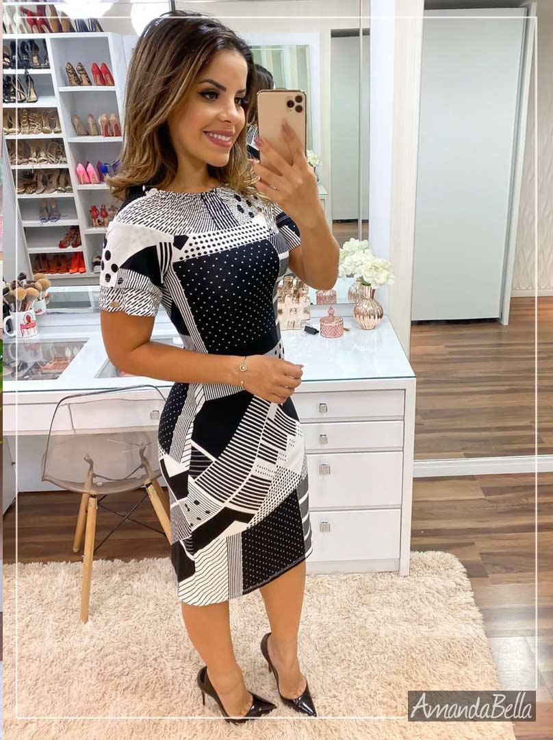 Vestido Tubinho P&B Elegancê - Boutique K