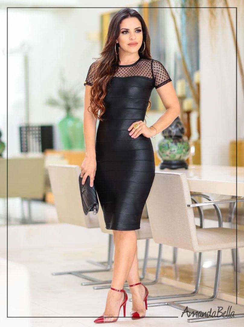 5036c9aa1 Vestido Tubinho Preto Bandagem Detalhe em Renda - Amanda Bella ...