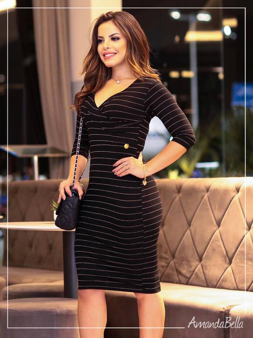 Vestido Tubinho Preto Executivo  - Boutique K