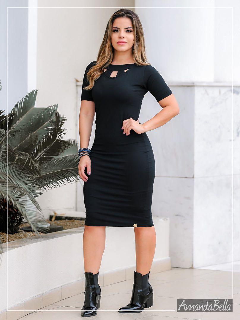 Vestido Tubinho Preto Forrado com Recortes na parte Frontal - Boutique K