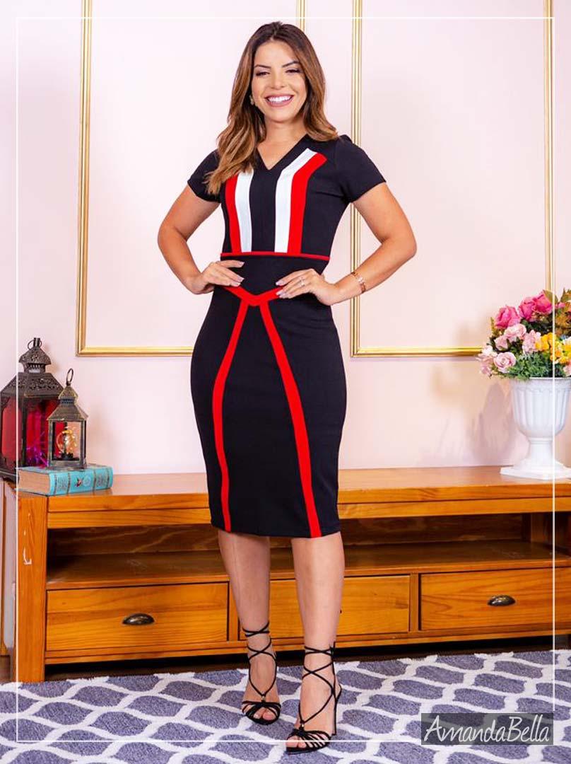 Vestido Tubinho Preto Moda Evangélica - AmandaBella