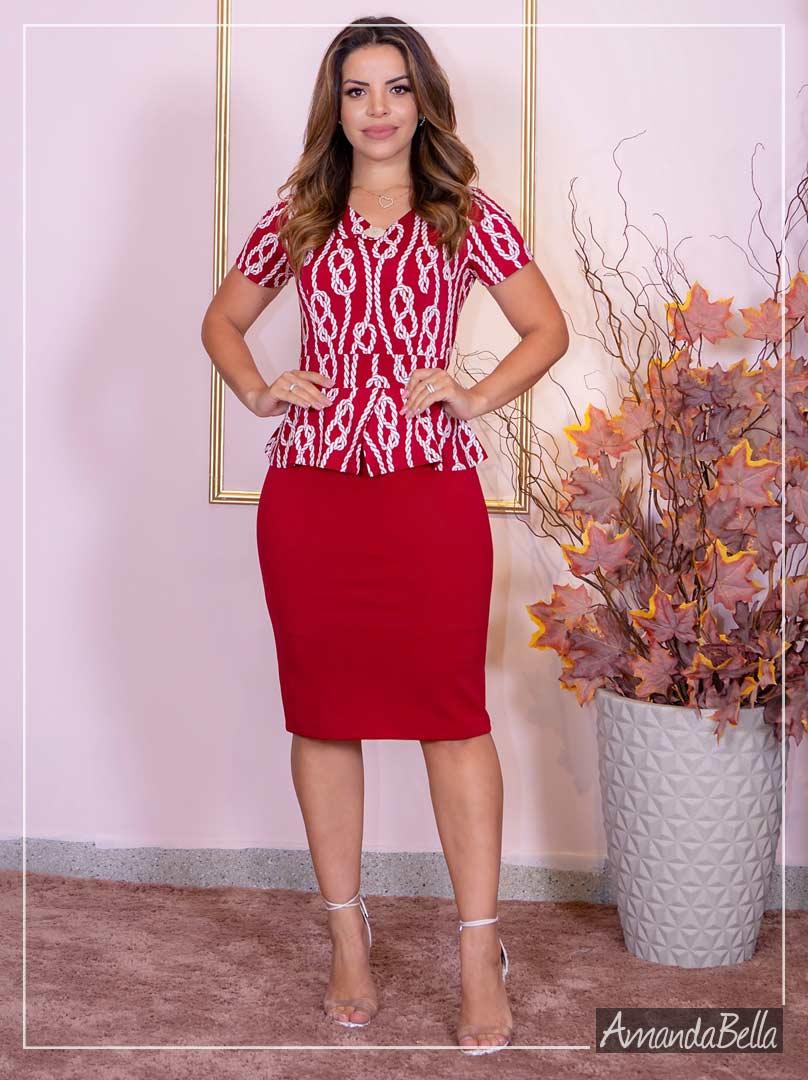 Vestido Tubinho Social Peplum - Moda Executiva