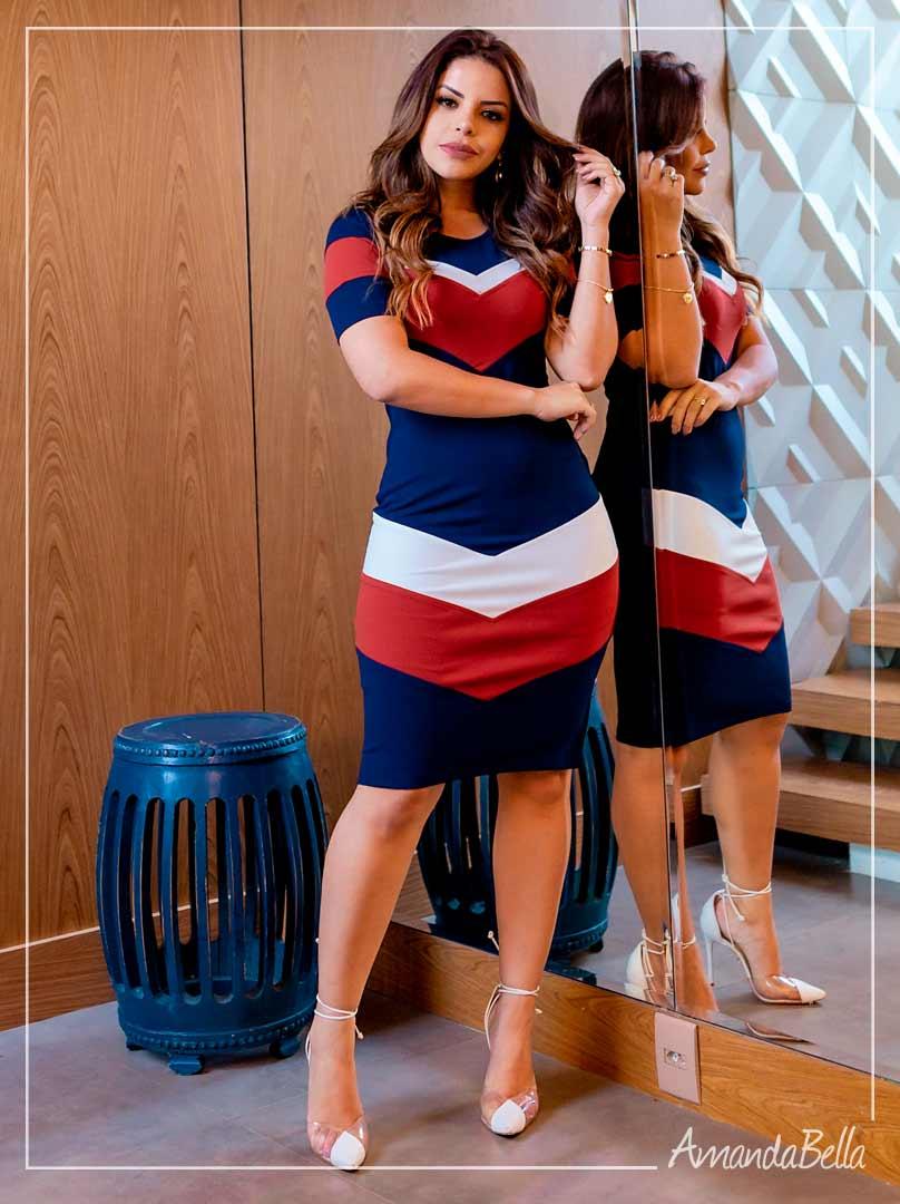 Vestido Tubinho  Tricolor - Moda Executiva
