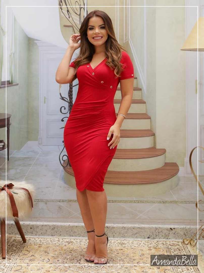 Vestido Tubinho Vermelho Candense Executivo - Boutique K