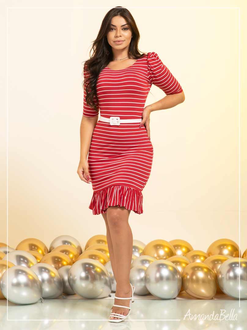 Vestido Tubinho Vermelho com Cinto - Amanda Bella