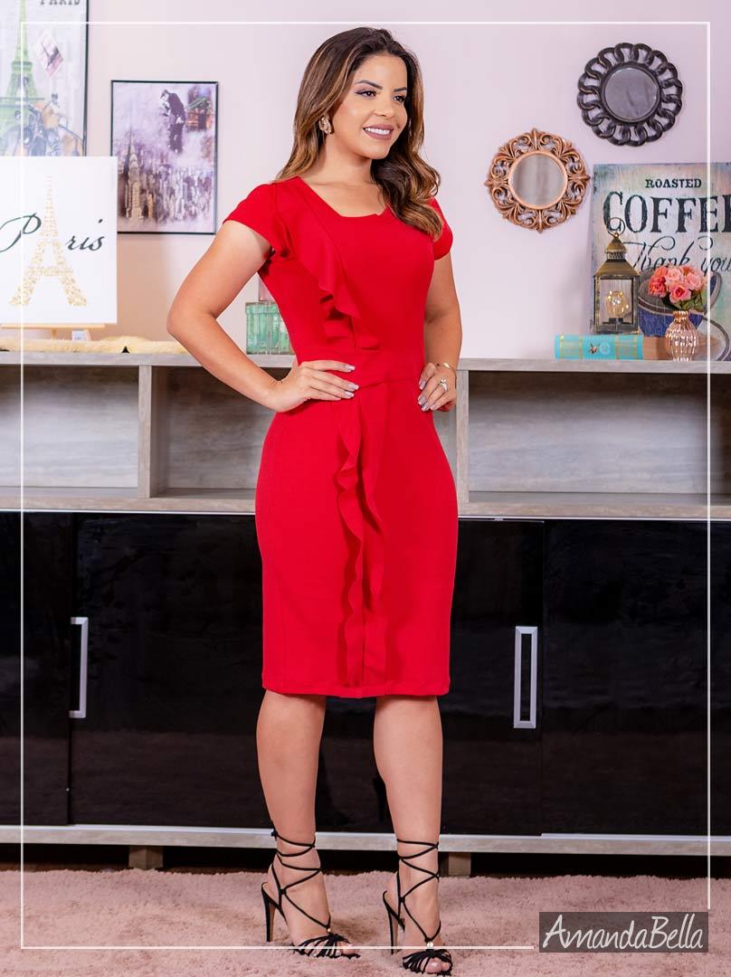Vestido Vermelho Tubinho Gold - Amanda Bella